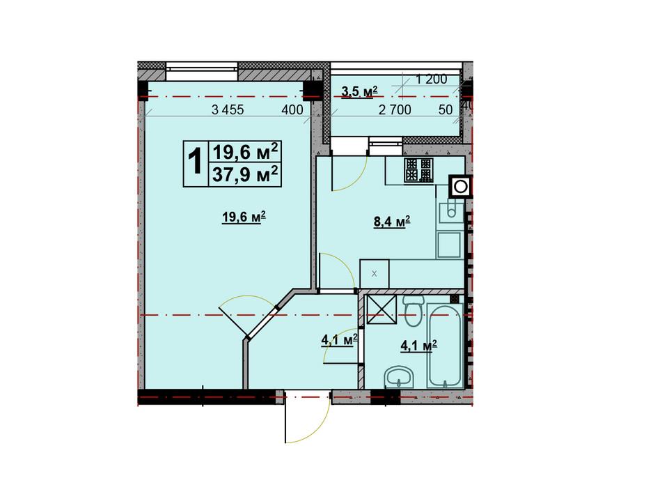 Планування 1-кімнатної квартири в ЖК Vlasna (Власна) 37.4 м², фото 221730