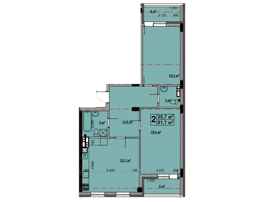 Планировка 2-комнатной квартиры в ЖК Vlasna (Власна) 81.7 м², фото 221731