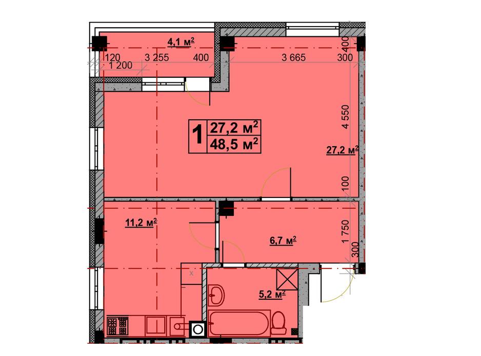 Планування 1-кімнатної квартири в ЖК Vlasna 48.5 м², фото 221732