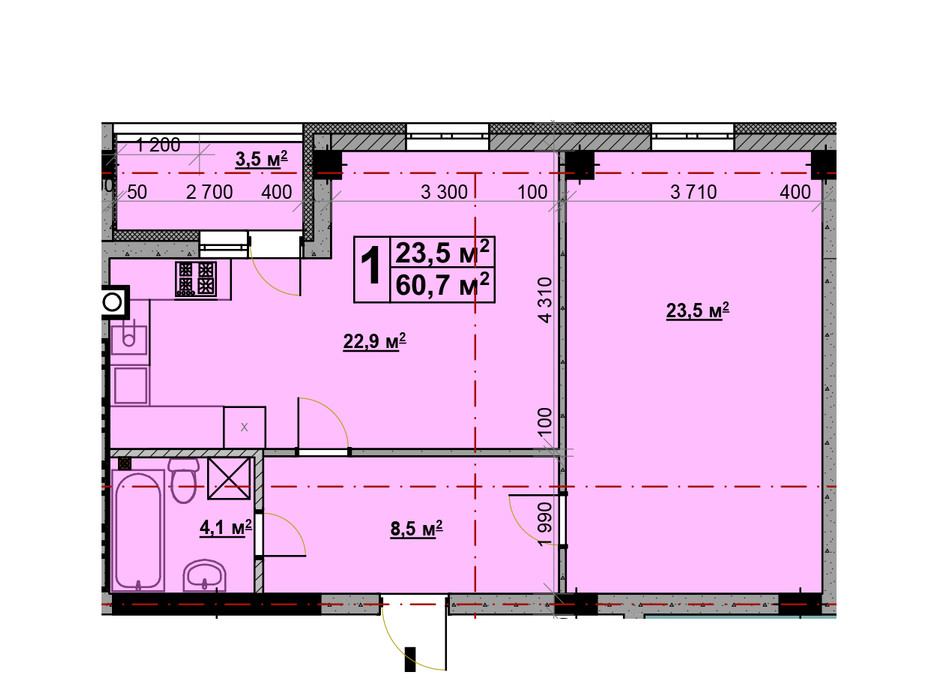 Планировка 1-комнатной квартиры в ЖК Vlasna (Власна) 58.2 м², фото 221733