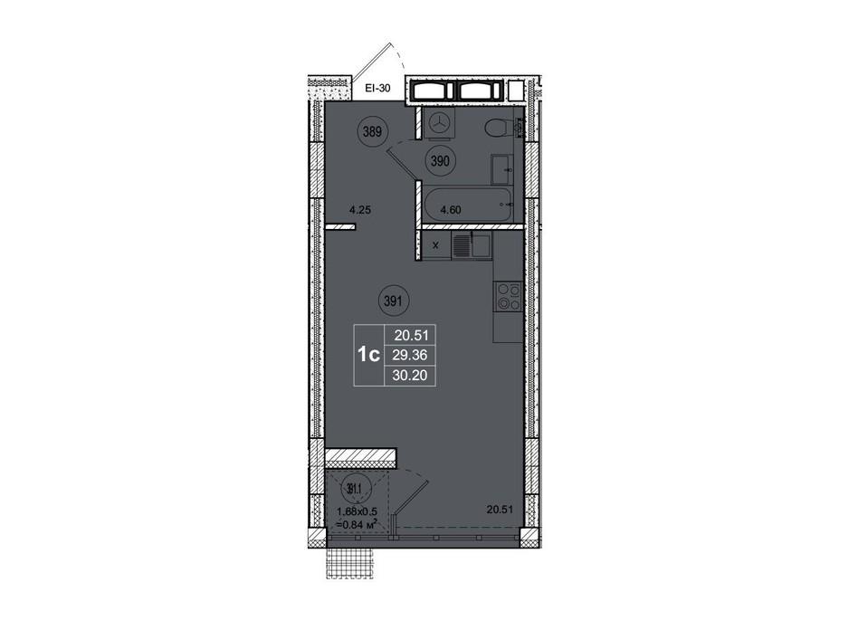 Планировка смарт квартиры в ЖК SmartCity (СмартСити) 30.2 м², фото 221740