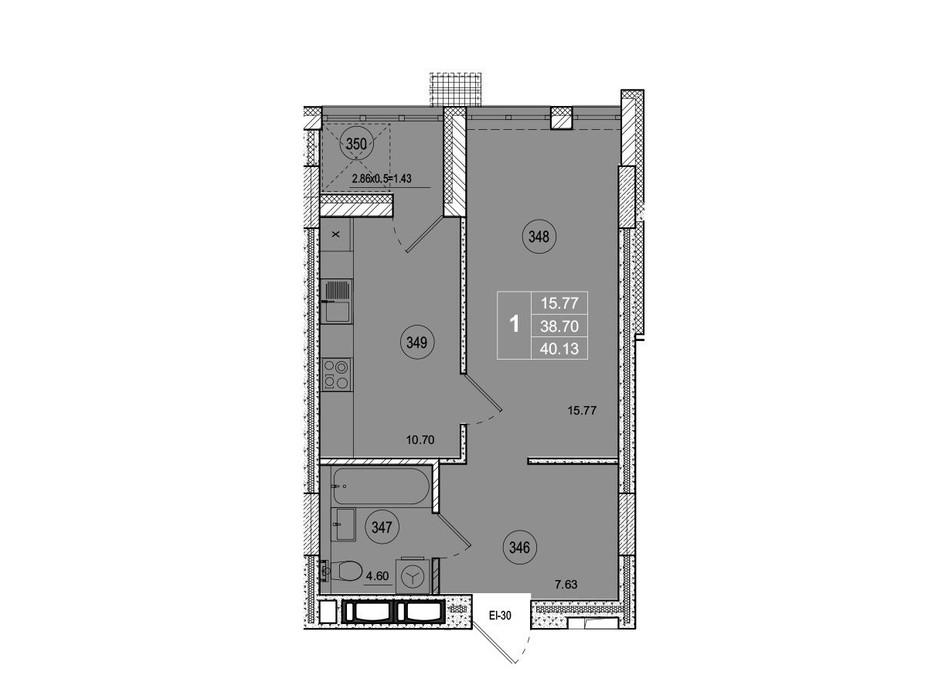 Планировка 1-комнатной квартиры в ЖК SmartCity (СмартСити) 40.13 м², фото 221745
