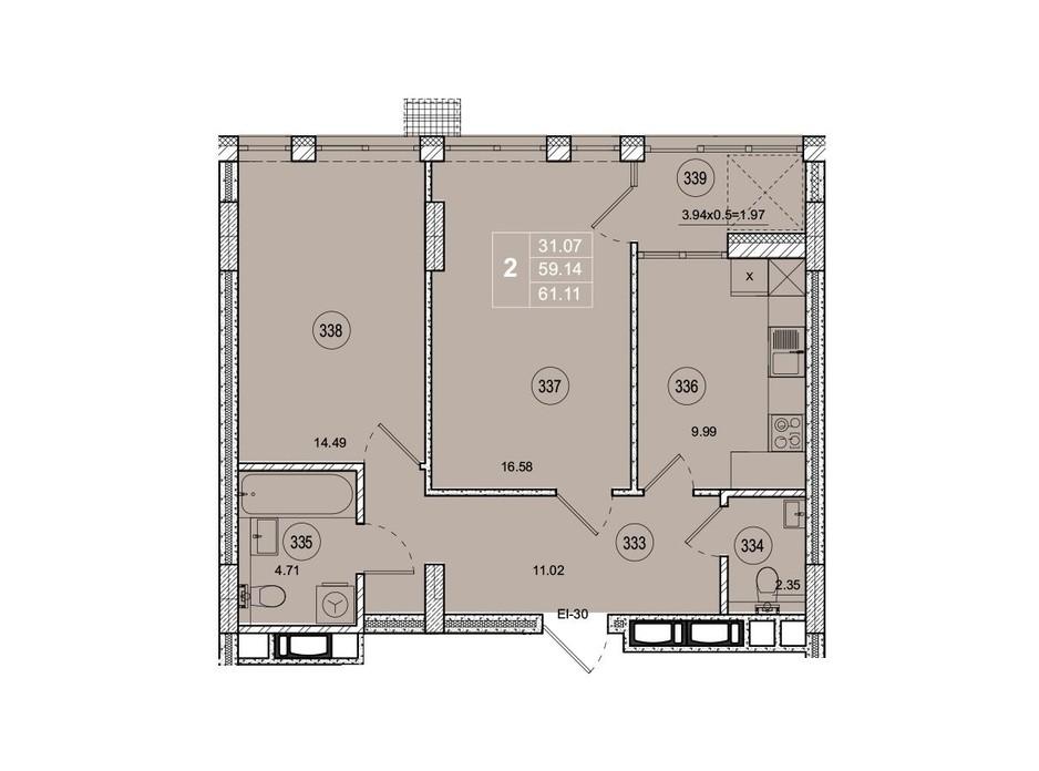 Планировка 2-комнатной квартиры в ЖК SmartCity (СмартСити) 61.1 м², фото 221753