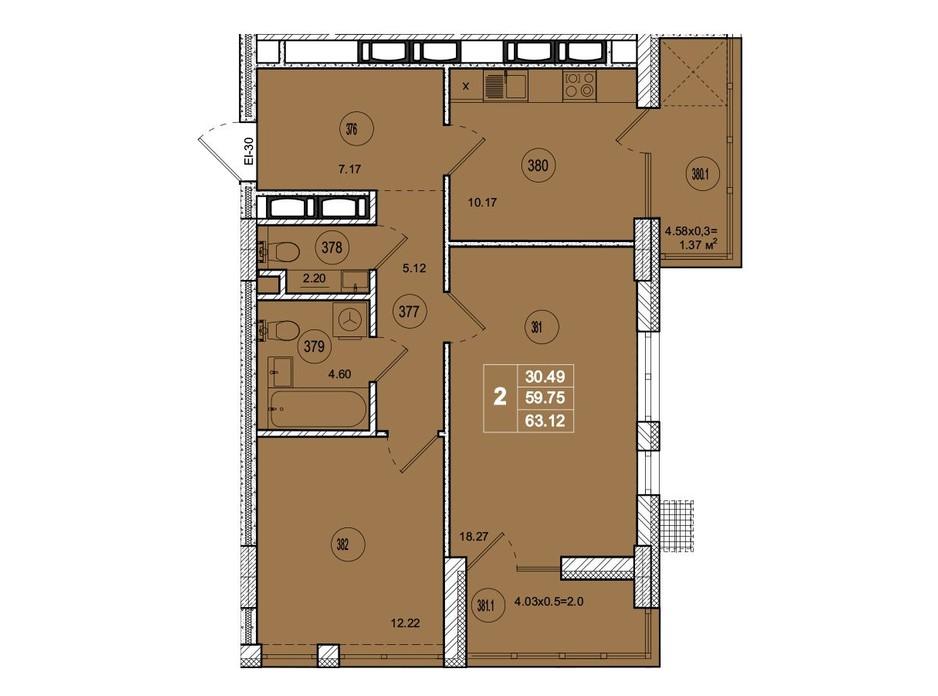 Планировка 2-комнатной квартиры в ЖК SmartCity 63.12 м², фото 221754