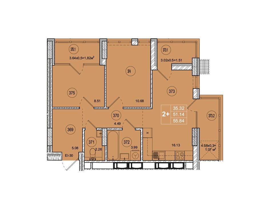 Планировка 2-комнатной квартиры в ЖК SmartCity (СмартСити) 55.84 м², фото 221755