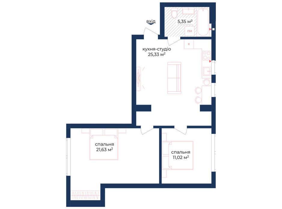 Планування 2-кімнатної квартири в КБ Liverpool House 70.58 м², фото 221925