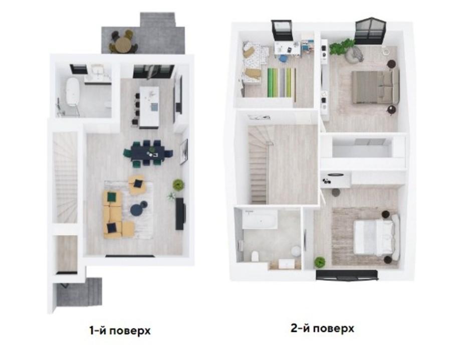 Планировка многоуровневой квартиры в Таунхаус Ecopark 1 174 м², фото 222476