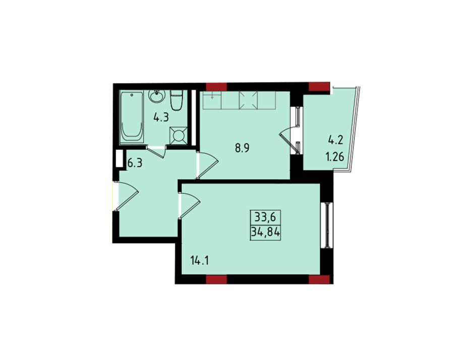 Планировка 1-комнатной квартиры в ЖК Калейдоскоп 34.84 м², фото 222827