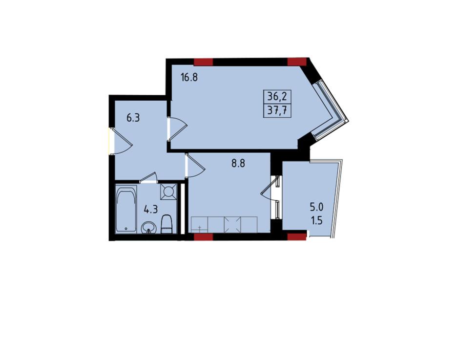 Планування 1-кімнатної квартири в ЖК Калейдоскоп 37.51 м², фото 222831