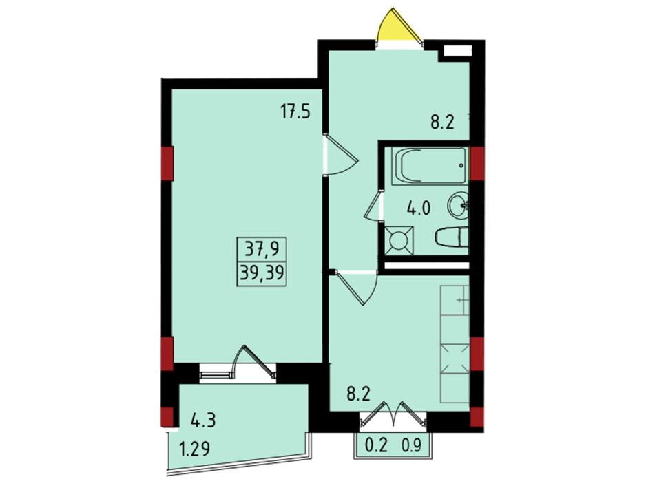 Планировка 1-комнатной квартиры в ЖК Калейдоскоп 39.39 м², фото 222834