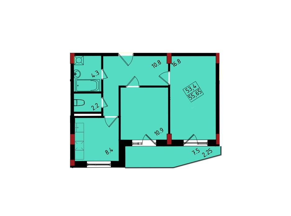 Планування 2-кімнатної квартири в ЖК Калейдоскоп 55.56 м², фото 222836