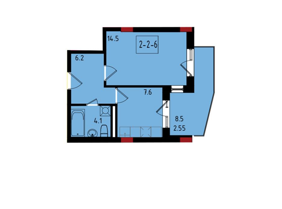 Планування 1-кімнатної квартири в ЖК Калейдоскоп 34.95 м², фото 222837