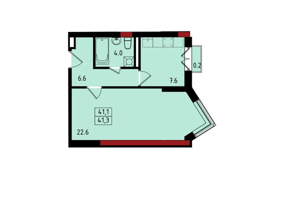 Планування 1-кімнатної квартири в ЖК Калейдоскоп 41.2 м², фото 222839