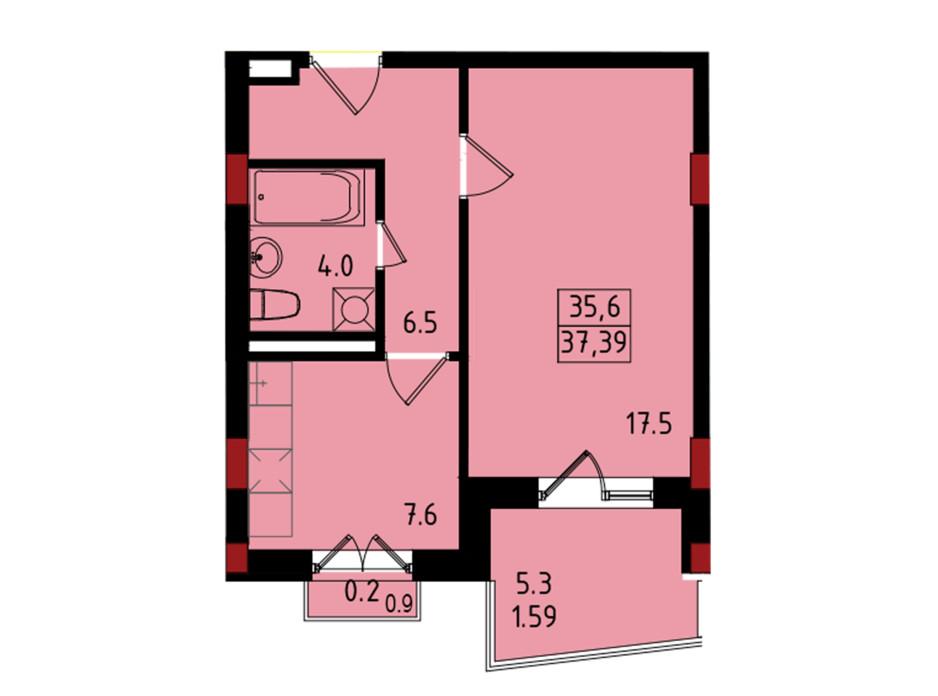 Планировка 1-комнатной квартиры в ЖК Калейдоскоп 37.39 м², фото 222840