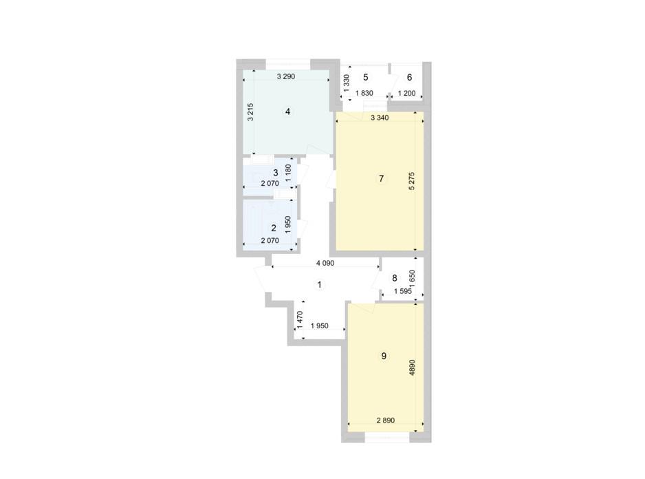 Планування 2-кімнатної квартири в ЖК Голосіївська Долина 67.85 м², фото 222873