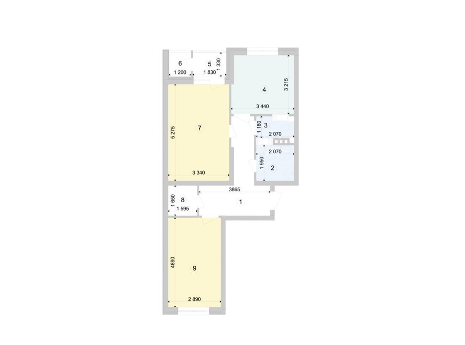 Планування 2-кімнатної квартири в ЖК Голосіївська Долина 64.07 м², фото 222875
