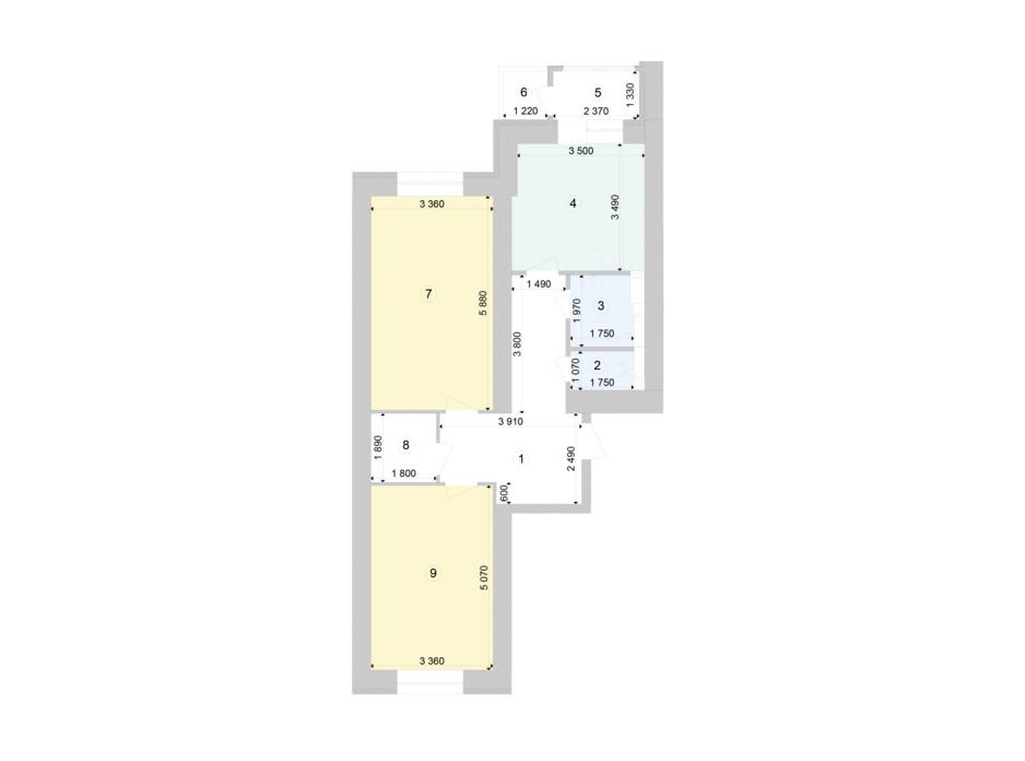 Планування 2-кімнатної квартири в ЖК Голосіївська Долина 73.99 м², фото 222979