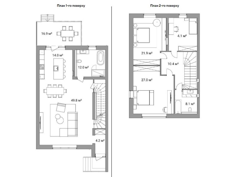 Планировка многоуровневой квартиры в Таунхаус Ecopark 1 174 м², фото 223038