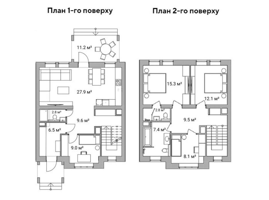 Планировка многоуровневой квартиры в Таунхаус Ecopark 2 114 м², фото 223040