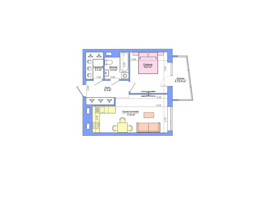 Планування 1-кімнатної квартири в ЖК Legenda 46.6 м², фото 223052