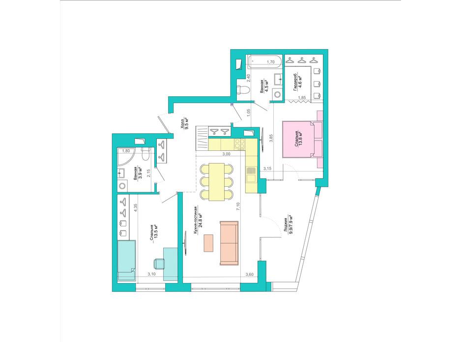 Планування 2-кімнатної квартири в ЖК Legenda 83.6 м², фото 223053
