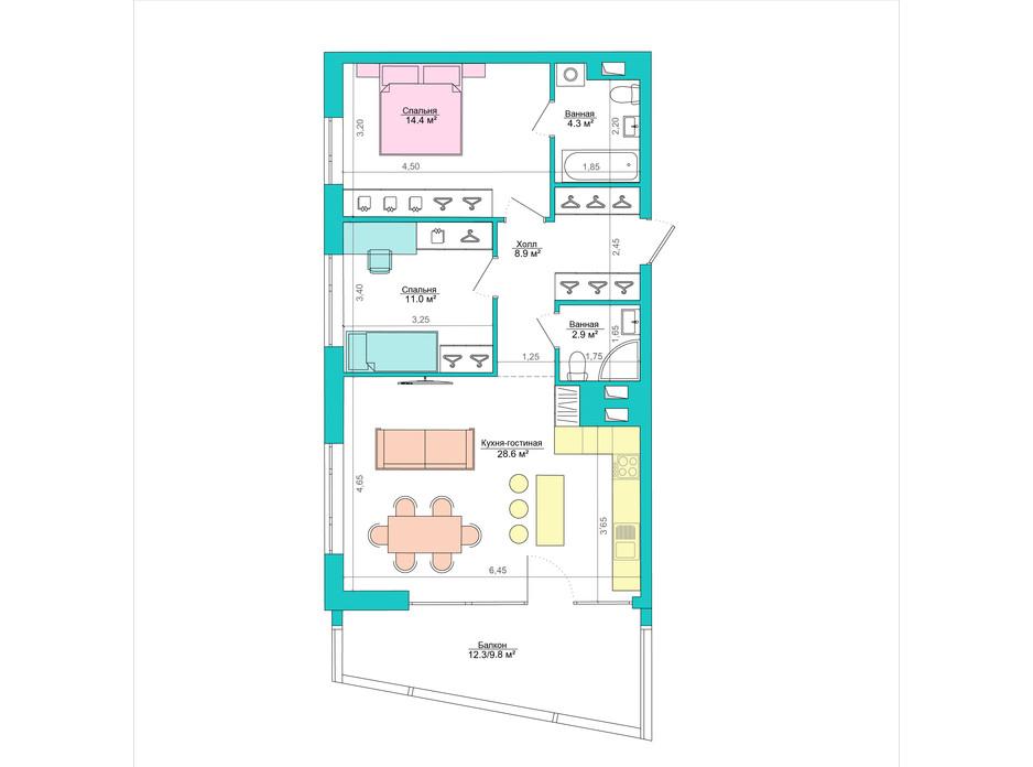 Планування 2-кімнатної квартири в ЖК Legenda 83.5 м², фото 223054