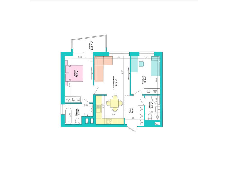 Планування 2-кімнатної квартири в ЖК Legenda 64.7 м², фото 223055