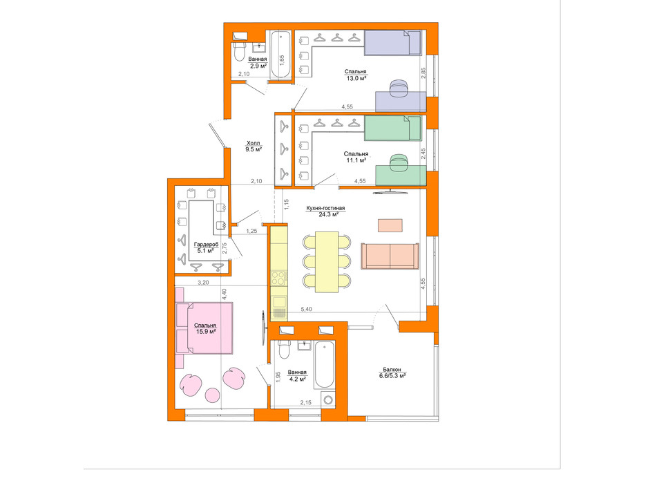 Планування 3-кімнатної квартири в ЖК Legenda 94.6 м², фото 223056
