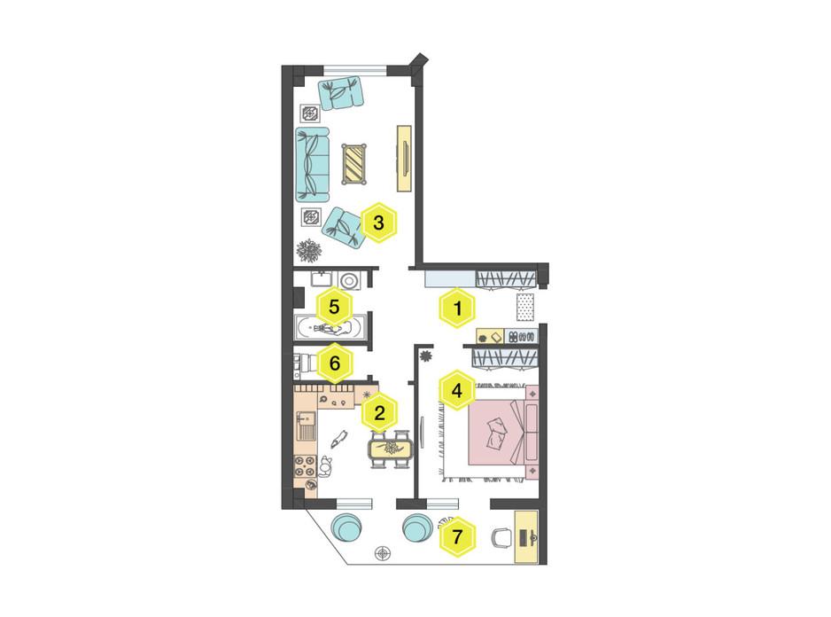 Планировка 2-комнатной квартиры в ЖК Алексеевский 60.6 м², фото 223334