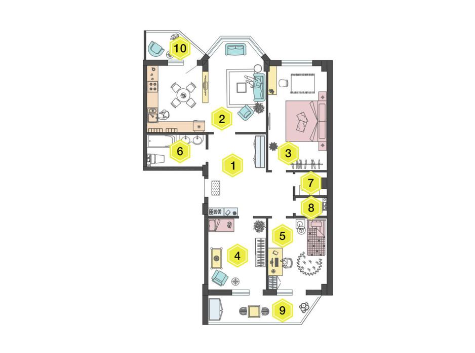 Планировка 3-комнатной квартиры в ЖК Алексеевский 99.8 м², фото 223335