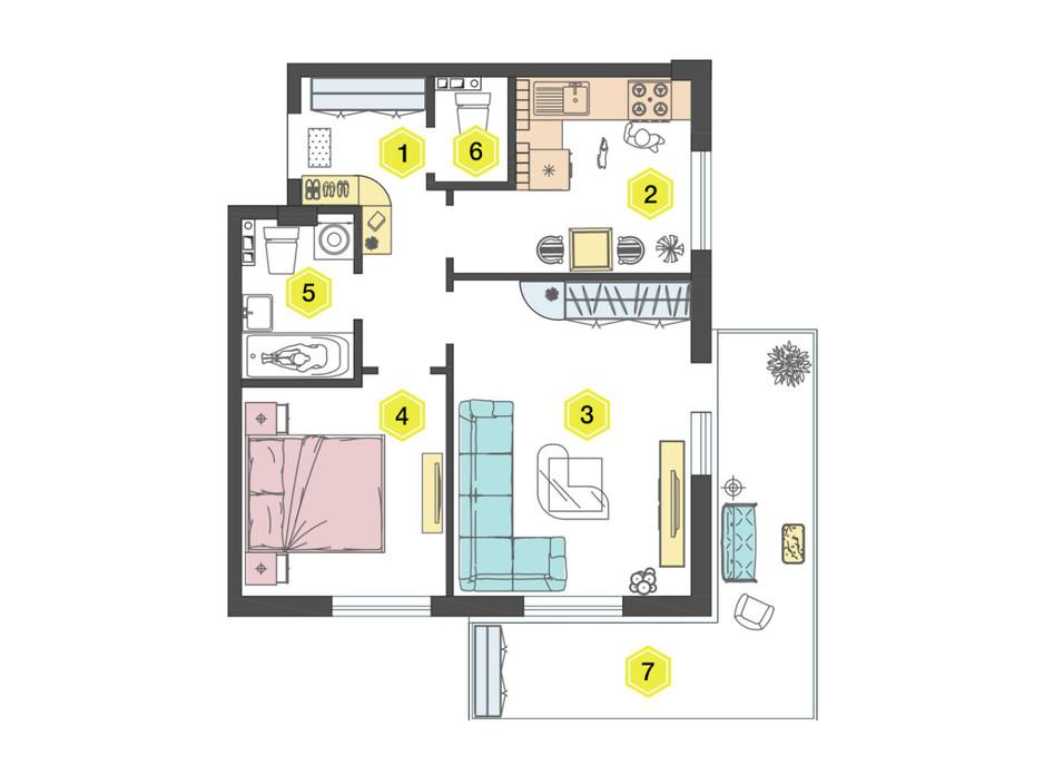 Планировка 2-комнатной квартиры в ЖК Алексеевский 52.4 м², фото 223337