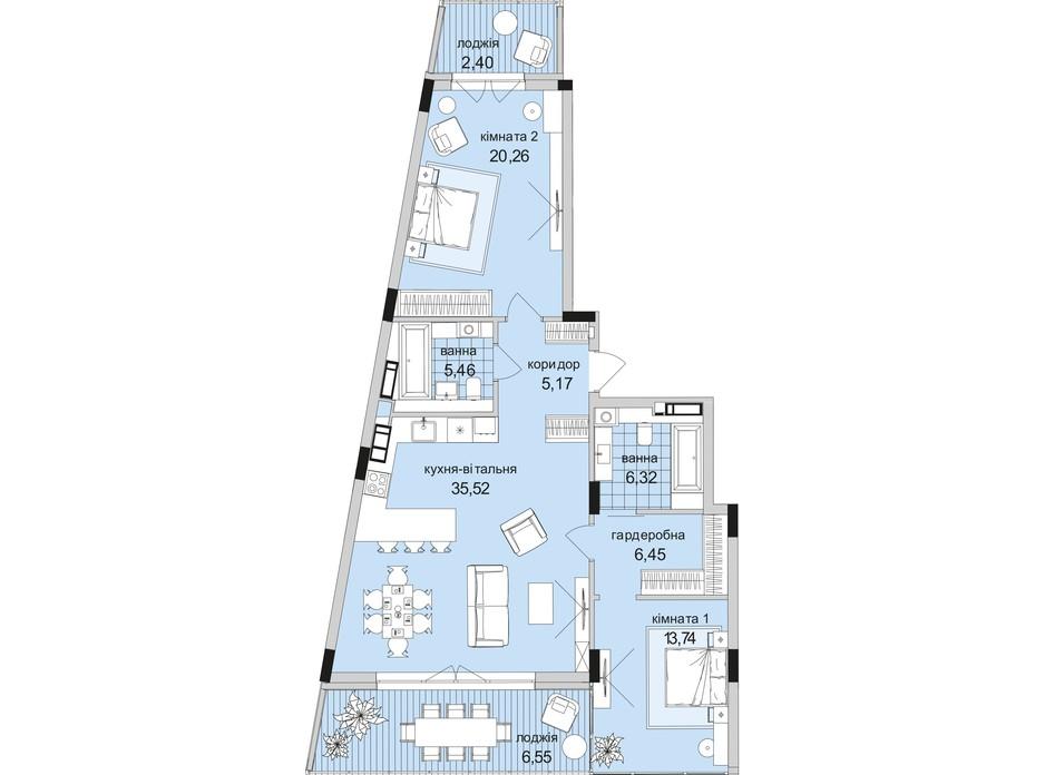 Планування 2-кімнатної квартири в ЖК Park Lake City 69.08 м², фото 223677