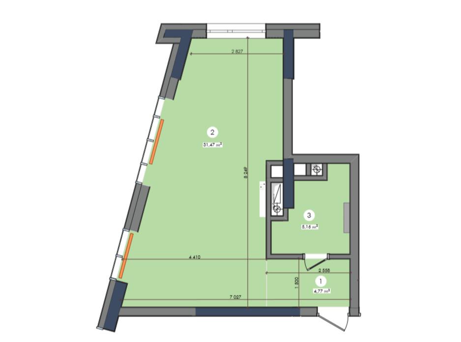 Планування 1-кімнатної квартири в ЖК «Метрополіс» 40.48 м², фото 223678
