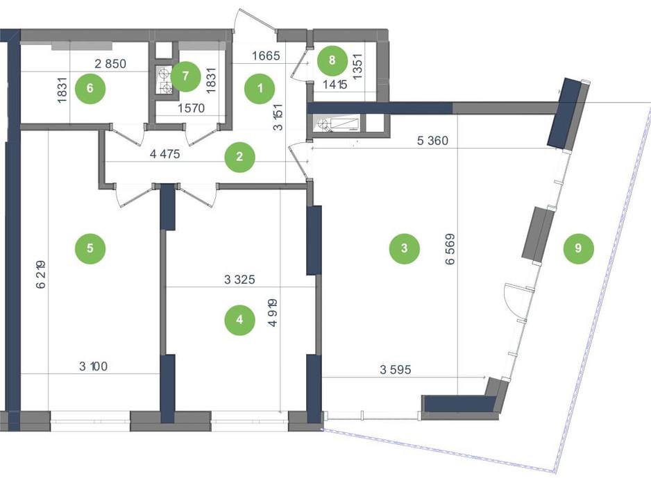 Планування 2-кімнатної квартири в ЖК «Метрополіс» 85.39 м², фото 223682