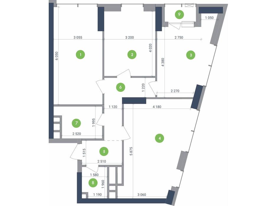 Планування 3-кімнатної квартири в ЖК «Метрополіс» 91.24 м², фото 223689