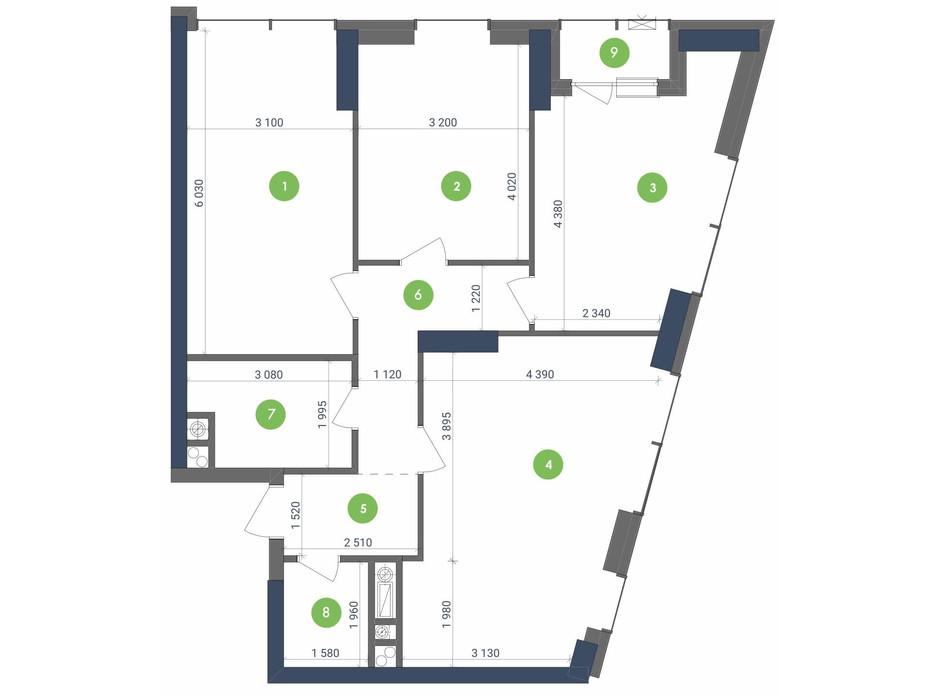 Планування 3-кімнатної квартири в ЖК «Метрополіс» 92.05 м², фото 223691