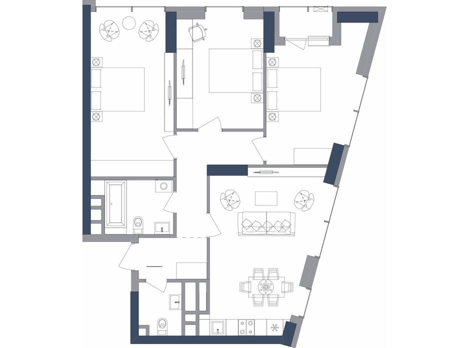 Планування 3-кімнатної квартири в ЖК «Метрополіс» 91.24 м², фото 223695