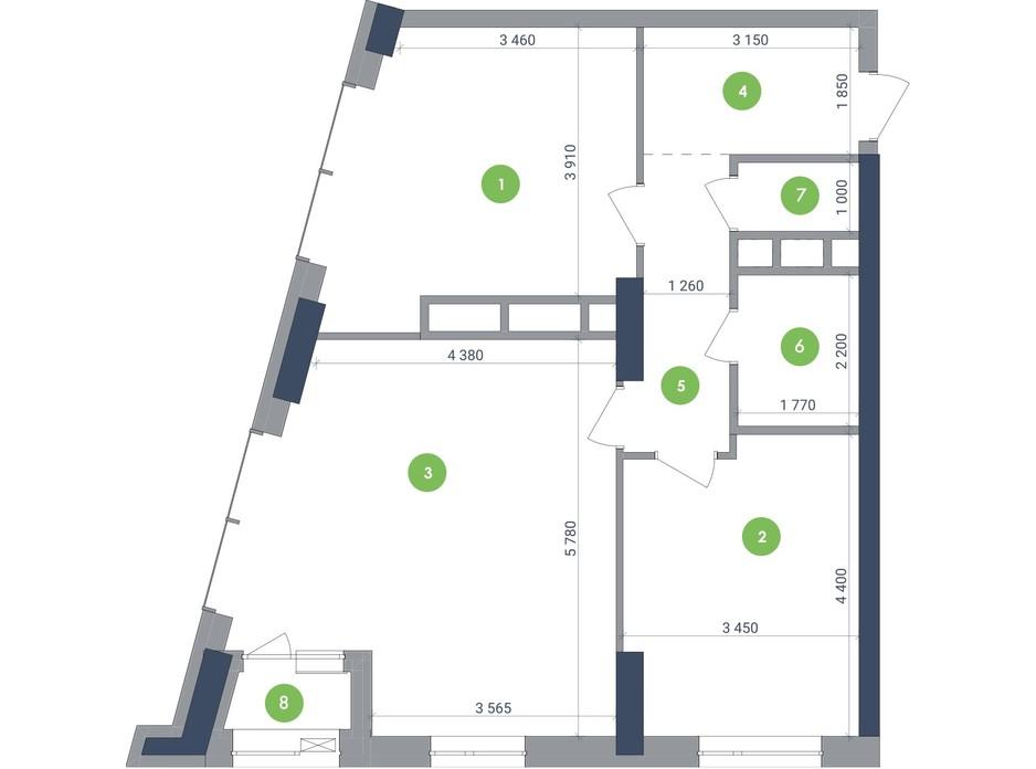 Планування 2-кімнатної квартири в ЖК «Метрополіс» 80.2 м², фото 223702