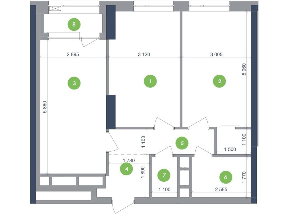 Планування 2-кімнатної квартири в ЖК «Метрополіс» 67.88 м², фото 223703