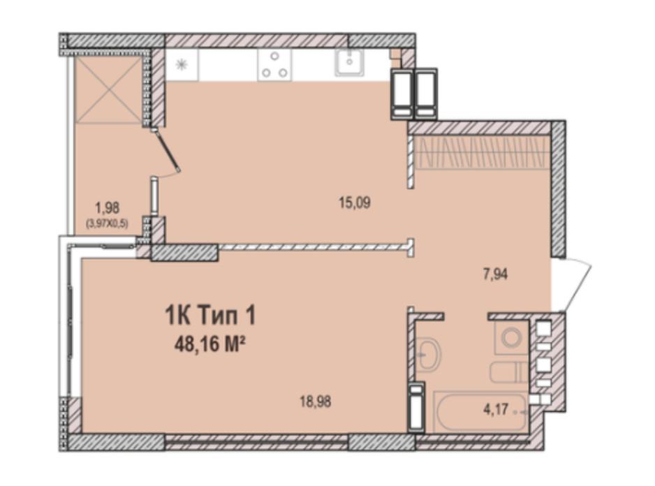Планировка 1-комнатной квартиры в ЖК Krona Park 2 48.45 м², фото 223767