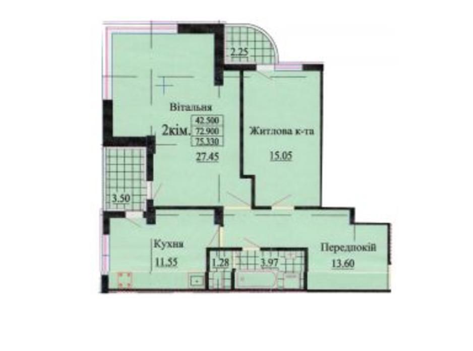 Планировка 2-комнатной квартиры в ЖК ул. Роксоланы, 16 75.3 м², фото 223953