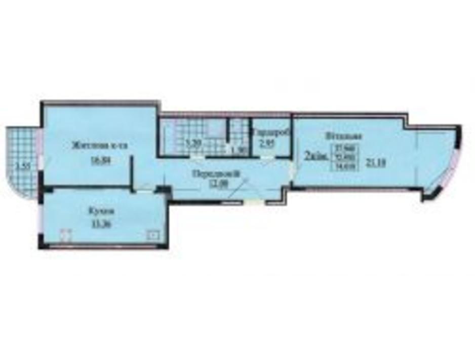 Планировка 2-комнатной квартиры в ЖК ул. Роксоланы, 16 74.2 м², фото 223954