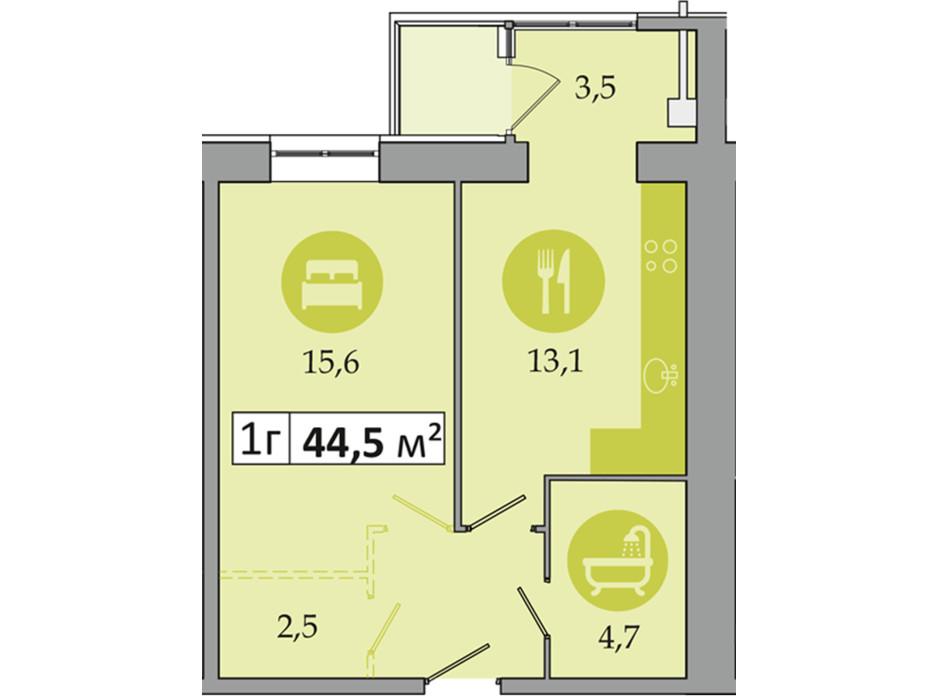Планировка 1-комнатной квартиры в ЖК Днепровская Брама 2 44.5 м², фото 223999