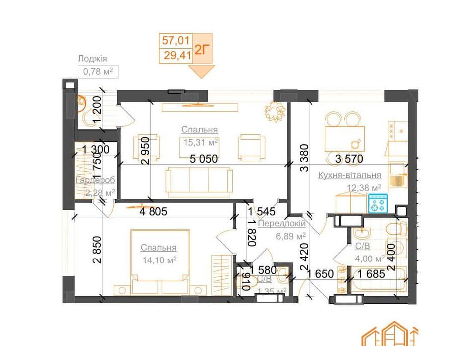 Планировка 2-комнатной квартиры в ЖК Гостомель Residence 57.01 м², фото 224058