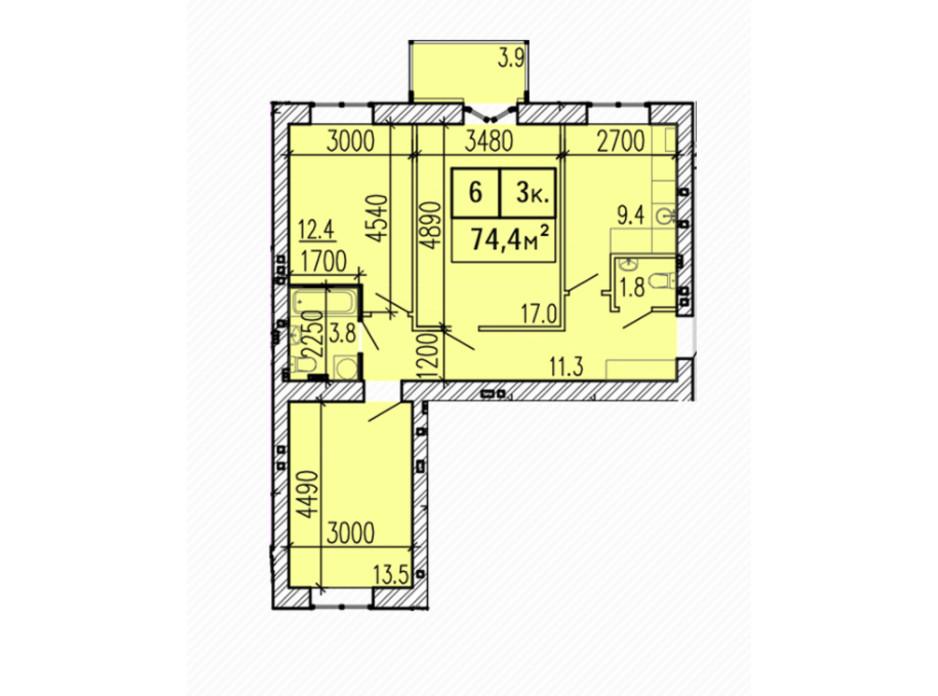 Планировка 3-комнатной квартиры в ЖК Затишний 74.4 м², фото 224145