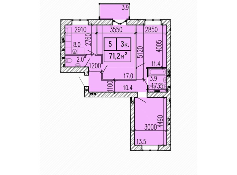Планировка 3-комнатной квартиры в ЖК Затишний 71.2 м², фото 224147