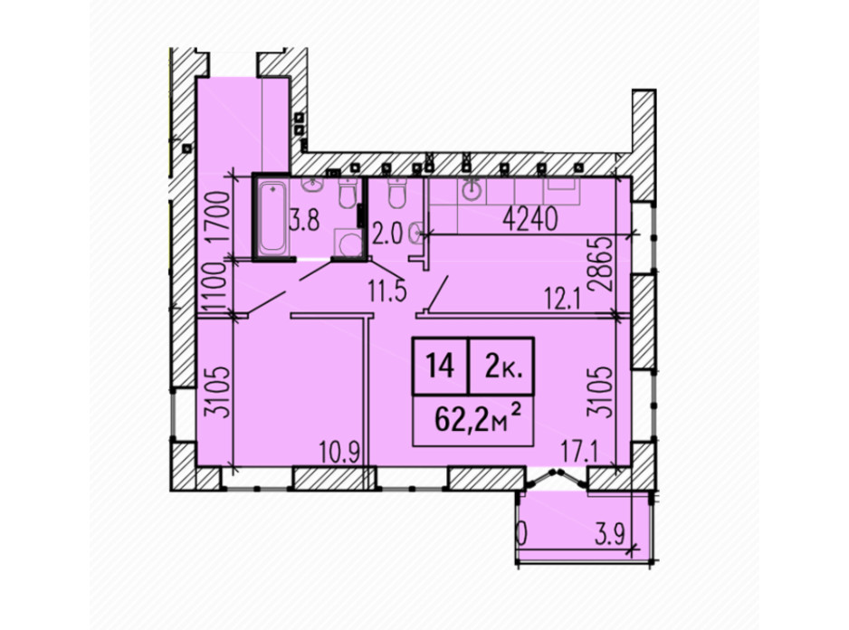 Планировка 2-комнатной квартиры в ЖК Затишний 62.2 м², фото 224148