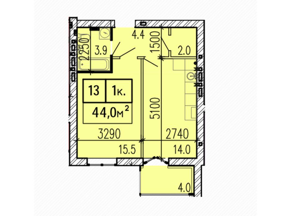 Планировка 1-комнатной квартиры в ЖК Затишний 44 м², фото 224149