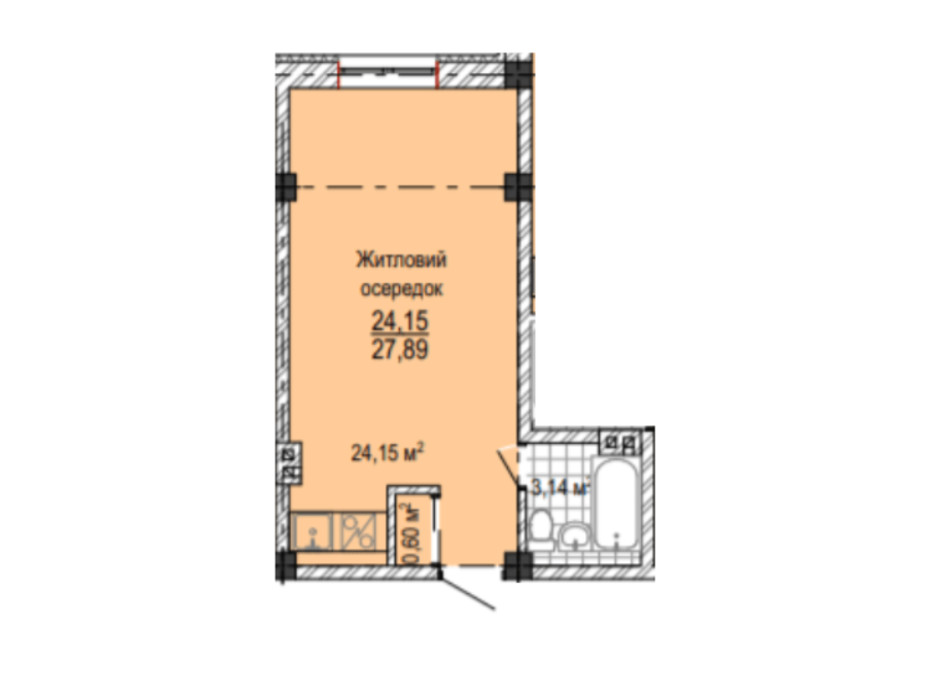 Планировка 1-комнатной квартиры в ЖК Надия 26 м², фото 224154