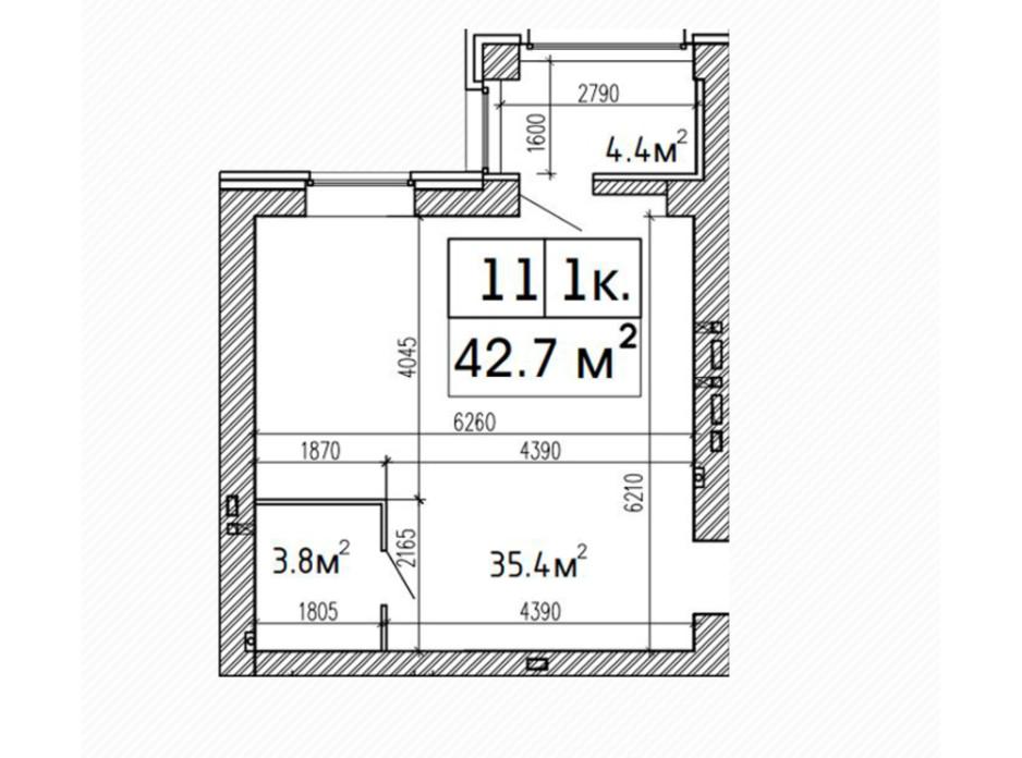 Планировка 1-комнатной квартиры в ЖК SunCity 42.7 м², фото 224166